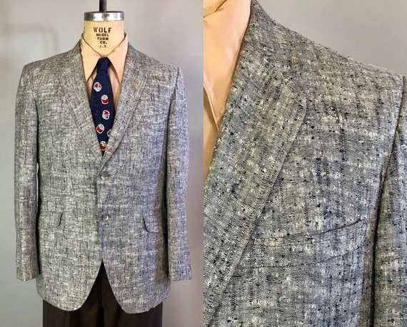 "1950s Mens Flecked Blazer | Vintage 50s Silver Grey Gray, Navy Blue, & White Sport Coat Jacket by ""Charles Baron"" 