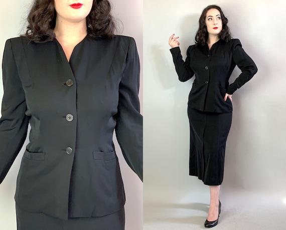 "1940s Noir Dame Suit | Vintage 40s Black Ebony ""Best & Co."" Wool Gabardine A-Line Skirt and Matching Form Fitting Blazer w/Pockets! | Medium"
