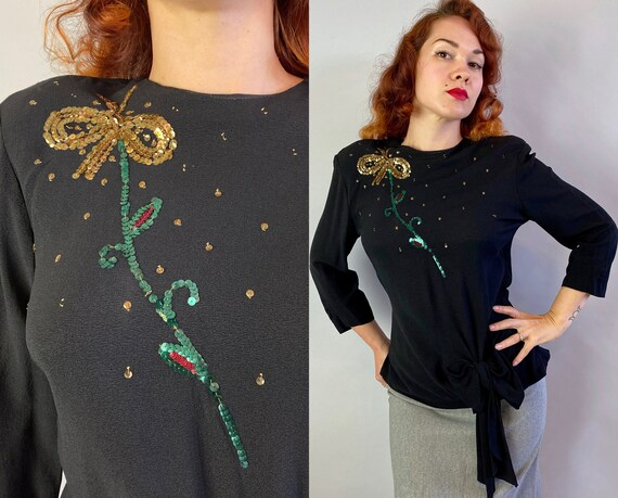 1940s Butterfly Beauty Blouse | Vintage 40s Black Rayon Crepe Evening Top Shirt with Gold Green and Pink Sequins & Padded Shoulders | Large