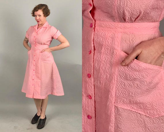 1940s Cotton Candy Pink Dress | Vintage 40s Sheer Nylon-Cotton Plaid Seersucker Button-Down Frock with Pockets! | Medium