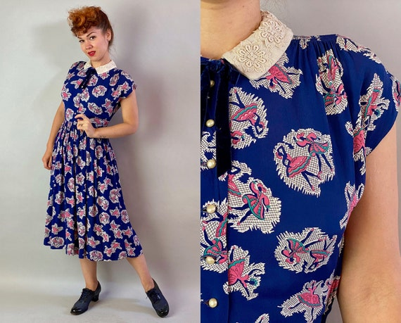 1940s Dancers Delight Dress | Vintage 40s Midnight Blue With Pink and White Novelty Print Dancing Rayon Crepe Frock w/Lace Collar | Small