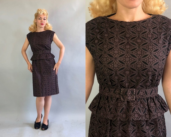 "1950s Noir Peplum Dress | Vintage 50s Sleeveless Deep Dark Mauve Cotton Eyelet Lace Frock w/ Black Embroidery & Belt by ""Leslie Fay"" 