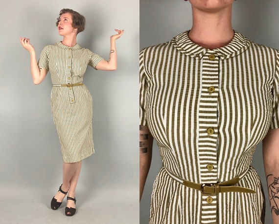1950s Seersucker Pencil Dress | Vintage 50s 'Carole King' Latté Beige Brown and White Striped Shirtwaist Frock with Self-Fabric Belt | Small