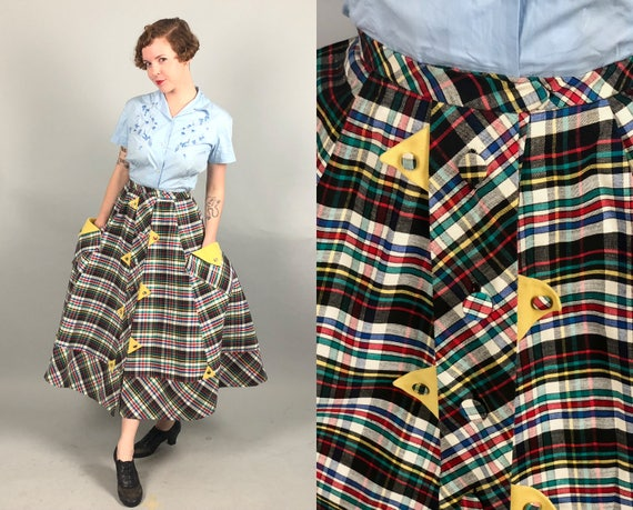 Vintage 1940s 1950s Skirt | 40s 50s Black Rainbow Plaid Tartan Button Up Skirt with Yellow Triangle Details and Pockets | Medium