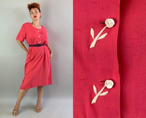 "1940s Ravishing Rosie Shirtwaist Dress | Vintage 40s Cherry Pink Linen Cotton Blend ""Berkshire"" Day Frock w/Pockets! | XL Extra Large Volup"