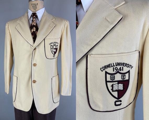 1940s Collegiate Dandy Jacket   Vintage 40s Cornell University Cream Blazer Sport Coat with Burgundy Red Piping Dated 1941!   Size 40 Medium