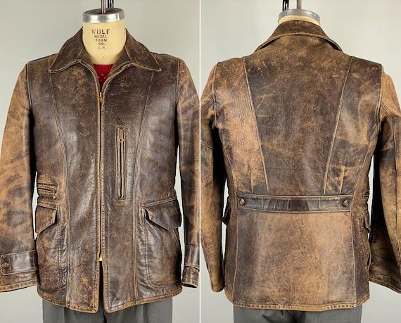"1940s Belted Back Leather Motorcycle Jacket | Vintage 40s Brown Horsehide 'Talon' Loop Chain Zipper Townsman Coat by ""Hercules"" | Medium"