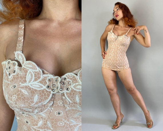 1950s Bombshell Bathing Suit | Vintage 50s Ballet Pink White Spiderweb Lace Overlay Rhinestone Sparkle Petal Bust One Piece Swimsuit | Small