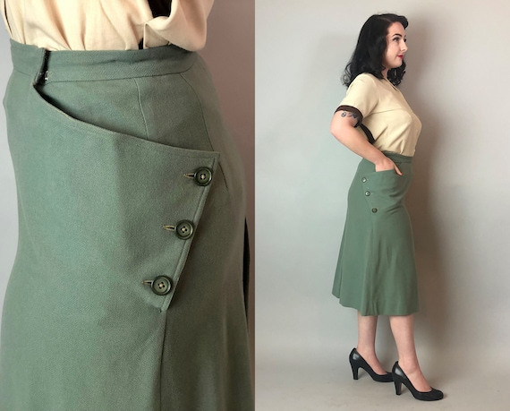 1940s Seafoam Green Skirt | Vintage 40s Wool Knee Length Pencil Skirt with Asymmetrical Buttons and Oversized Pockets! | Medium