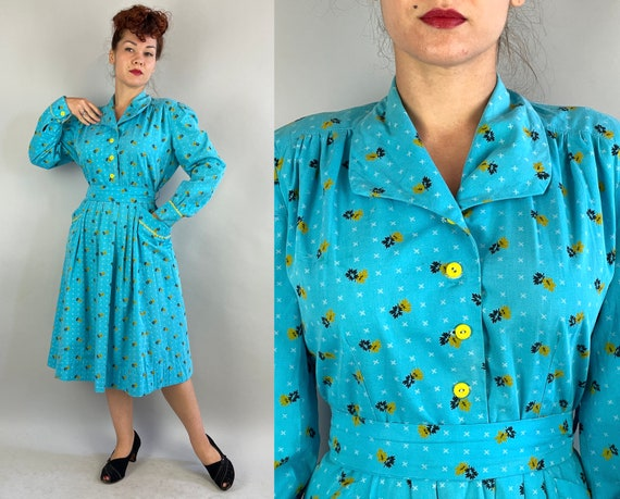 1940s Leaves and Kisses Dress | Vintage 40s Cyan Blue Cotton with Yellow White and Black Leaf and X Print Shirtwaist Frock | Extra Large XL