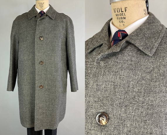 1950s Overcast Skies Overcoat | Vintage 50s Steel Grey Wool Single-Breasted Marbled Button-Front Topcoat  | Size 42 Large