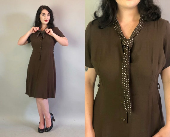 1930s Chocolate Playful Cotton Dress | Volup Vinta