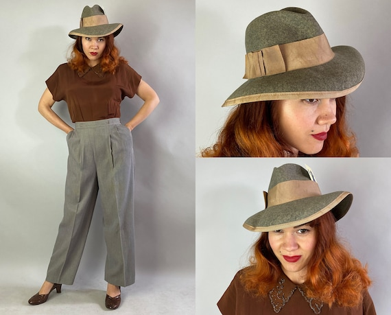 """1940s Detective Donna Hat   Vintage 40s Heathered Grey Wool Felt Ladies Fedora with Taupe Grosgrain Ribbon Bow and Trim by """"Betmar"""""""