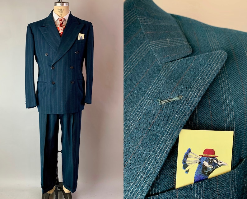1930s Thrilling Theo Three Piece Suit  Vintage 30s Peacock image 0