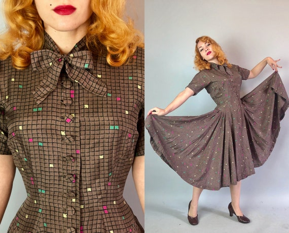 "1940s ""Anne Fogarty"" Atomic Frock 