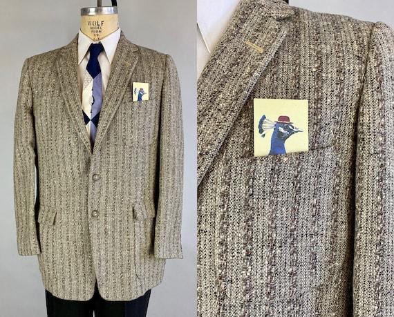 1950s Martin's Flecked Tweed Sport Coat | Vintage 50s Variegated Silver Fox Grey Slubby Wool Patch Pockets Jacket Blazer | Size 42 Large