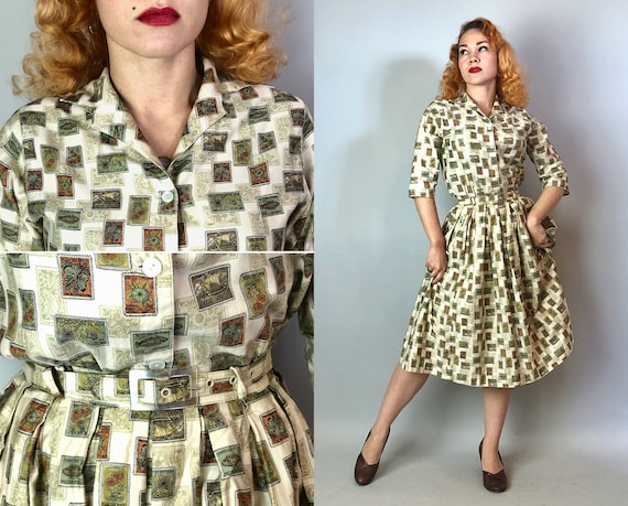 1940s Novelty Print Dress Set | Vintage 40s Cream White Cotton w/ Green Global Explorer Stamps w/ Lucite Self-Belt by 'Sporteens' | Small/XS