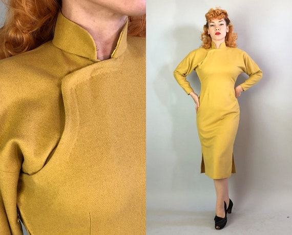 1930s Shanghai Lily Cheongsam | Vintage 30s Mustard Yellow Wool Traditional Chinese Qipao Dress with Loop and Chain Zipper | Medium