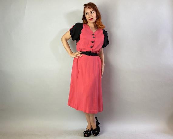 1940s Color Block Cutie Dress | Vintage 40s Coral… - image 3