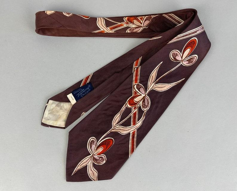 1940s Spring Floral Necktie  Vintage 40s Deep Mauve image 0