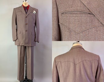 1950s Wild West Suit | Vintage 50s Taupe Brown Atomic Orange & Blue Flecked Wool Two Piece Western Wear Jacket Trousers | Size 42 Large