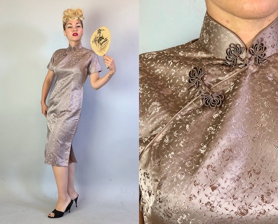 Vintage 1950s Dress | 50s Lavender Purple Silver Silk Brocade Cheongsam Qi Poa Evening Cocktail Dress w/ Lotus Flower Frogs | Small