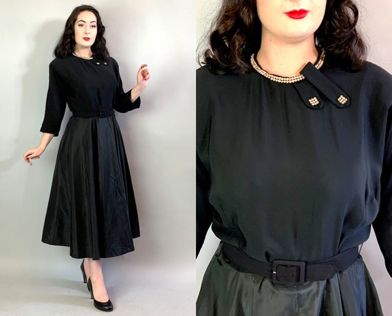 1950s Cocktail Cutie Dress | Vintage 50s Black Rayon & Silk Taffeta Party Dress w/Rhinestones and Full Circle Skirt Volup | Extra Large XL