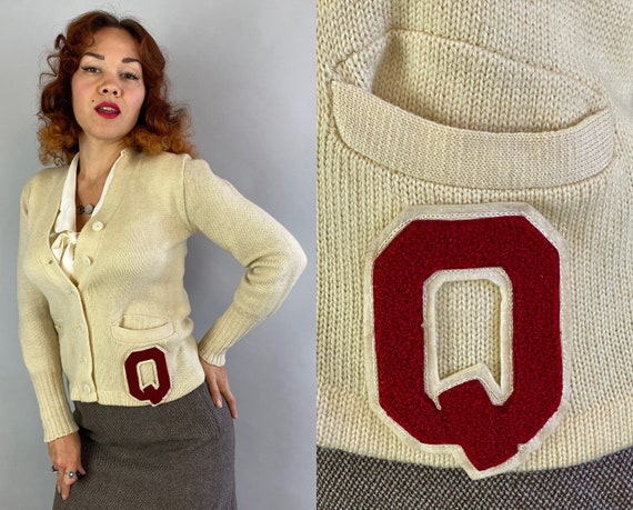 """1940s Cutie """"Q"""" Cardigan 