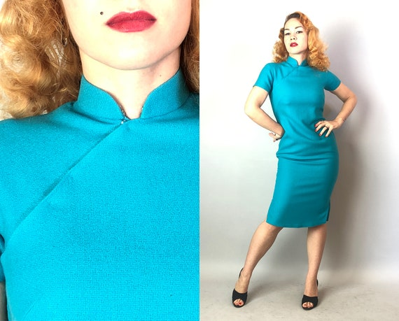 1950s Teal Wool Cheongsam | Vintage 50s Mid Century Bright Blue Short Sleeve Qipao Dress by 'Lai Wah Hong Kong' with Side Slits | Small