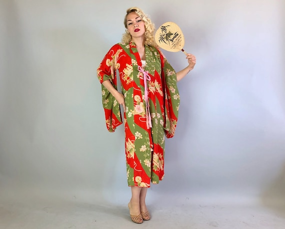 Vintage 1930s Kimono | 30s Persimmon Red and Sage Green Cherry Blossom Patterned Rayon Crepe Kimono Robe with Silk and Cotton Lining | Small