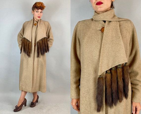 1930s Touch of Mink Coat | Vintage 30s Beige Boucle Wool Swing Overcoat Jacket with Detachable Scarf w/Fur Accents & Caramel Buttons | Large