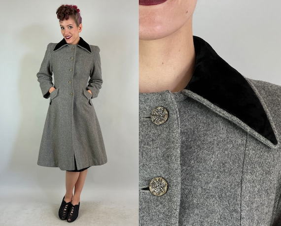1940s Witchy Princess Coat  | Vintage 40s Spiderweb Buttons Cloud Grey Wool Long Jacket with Peaked Black Velvet Collar | Extra Small XS