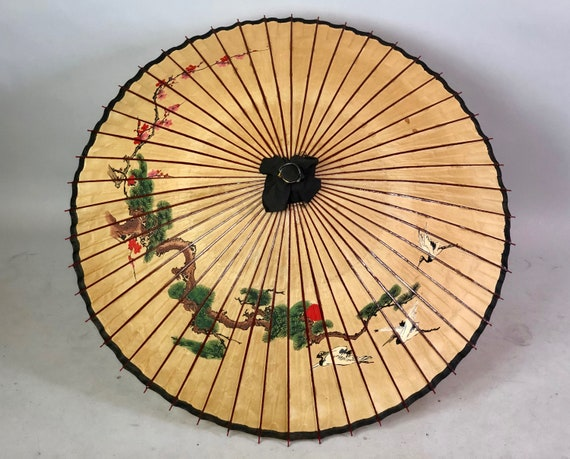 Vintage 1930s Parasol | 30s Wheat Yellow Brown with Cranes, Cherry Blossom and Bonsai Paper and Wood Sun Umbrella with Bamboo Wooden Handle