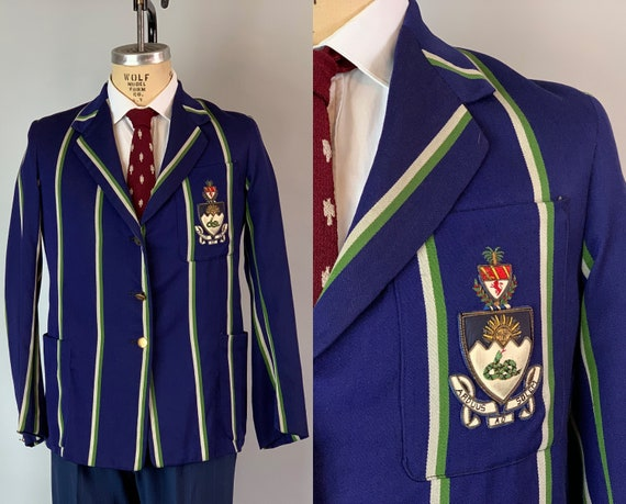 1930s University of Manchester Blazer | Vintage 30s Midnight Blue Wool w/Green & Grey Vertical Stripes Collegiate Jacket | Size 38 Medium