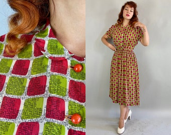1940s Fun and Fruity Frock | Vintage 40s White Rayon Chiffon with Raspberry Pink and Chartreuse Green Color Blocks Dress w/Belt | Large