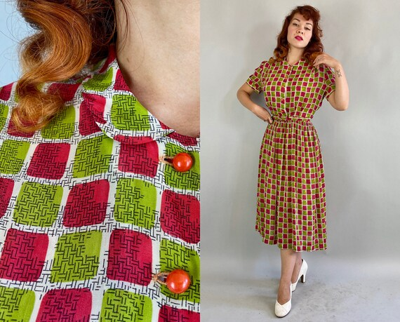 1940s Fun and Fruity Frock | Vintage 40s White Ray