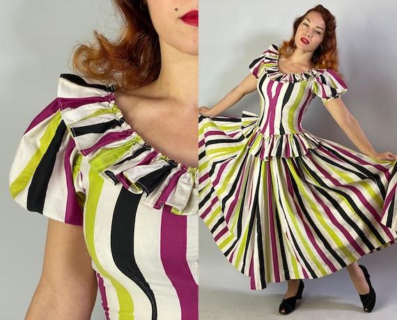 1940s Big Top Ball Gown | Vintage 40s Cotton Dress