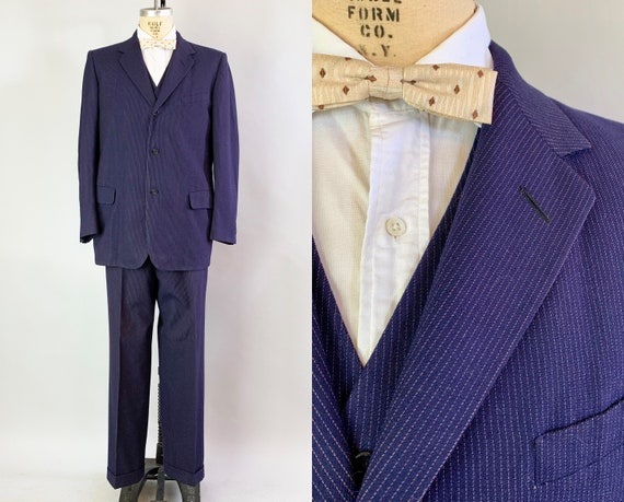 1950 3-Piece Pinstripe Suit Dated 1953! | Vintage Early 50s Navy Blue and Pink Pinstripe Wool Jacket, Waistcoat and Trousers | Size 42 Large