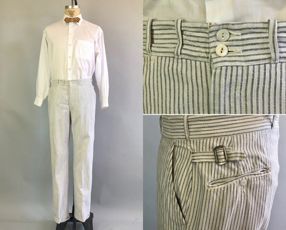 1920s Summer Striped Trousers | Vintage 20s Men's Cotton Twill Grey Gray and White Flat Front Pants with Button Fly | Size 35x31.5 Large