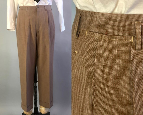 Vintage 1940s Mens Trousers | 40s Taupe Beige Woven Orange Striped Drop Looped Double Pleated Cuffed Pants Slacks | Size 32x28 Small/Medium