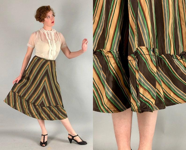 ba5db39b5223 1930s Silk Taffeta Skirt Vintage 30s Art Deco Striped Tea | Etsy