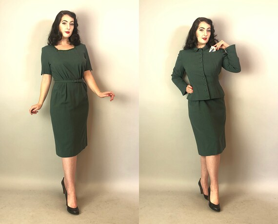 1940s Three Piece Dress Set | Vintage 40s Emerald Green Wool Crepe Evening Cocktail Dress and Jacket w/ Scallop Beading & Self-Belt | Medium