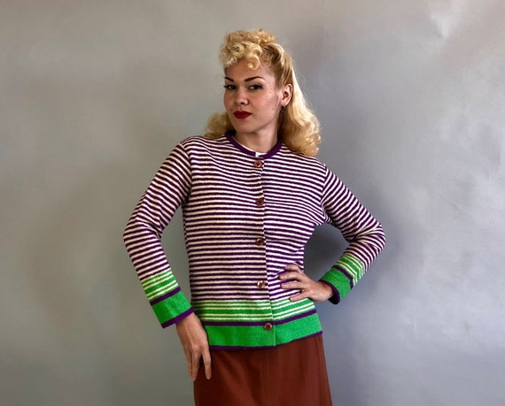 Vintage 1930s Sweater   30s Deep Orchid Purple, White, and Spring Green Rayon Bouclé Knit Button-Down Cardigan   Small Medium