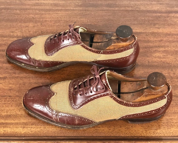 Vintage 1930s 1940s Men's Shoes | 30s 40s Mahogany Brown Leather and Beige Tan Nylon Ventilated Summer Wingtip Lace Up Oxfords | Size 9