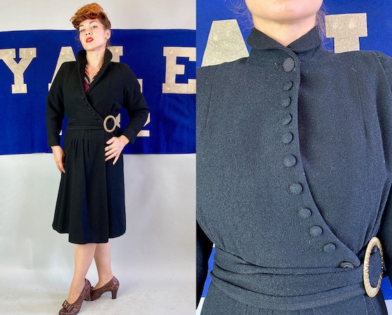 1930s Vamp Coat | Vintage 30s Black Wool Crepe Overcoat with Asymmetric Closure & Pleated Sash Belt with Huge Brass Buckle | Small Medium
