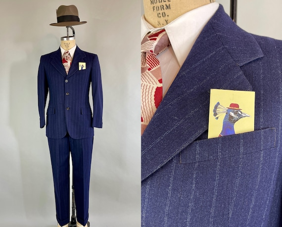 1940s Dapper Danny Suit   Vintage 40s Midnight Blue with Electric Blue Chalkstripe Wool Two Piece Blazer Jacket & Trousers   Size 38 Medium