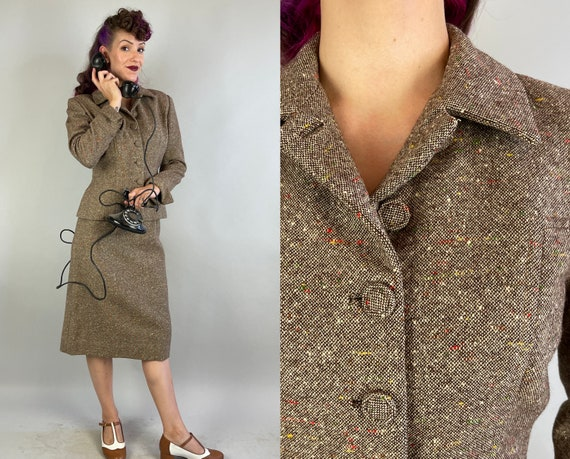 1940s Terrific in Tweed Suit | Vintage 40s Brown and White Wool with Red Yellow Green Slubby Flecks Two Piece Jacket and Skirt | Small