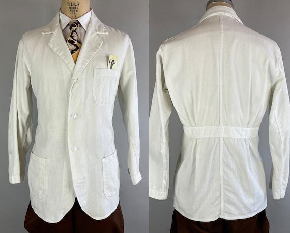 1920s Belted Back Jacket | Vintage Antique 20s White Workwear Shop Blazer with Pleated Belt Back and Patch Pockets | Size 40/42 Medium/Large