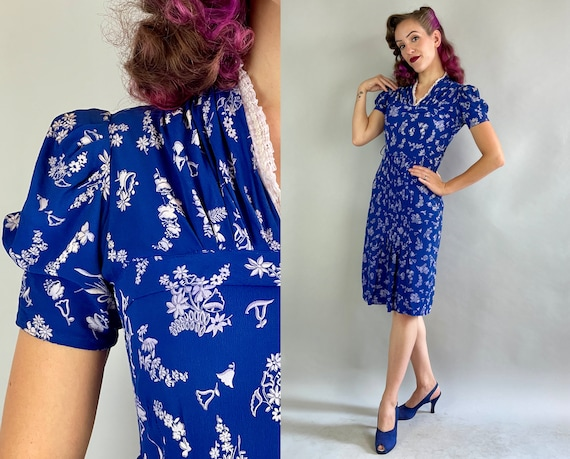 1930s Whispering Bells Dress | Vintage 30s Cobalt Blue Rayon Crepe Frock with Puff Sleeves Ruffle Trim and Grey Floral Bell Pattern | Small