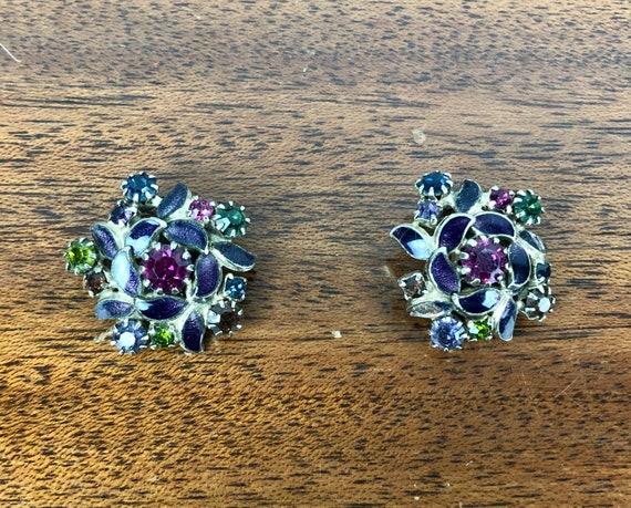 Vintage 1950s Earrings | 50s Bright Floral Gemstones Clip On Earrings Amethyst Purple Pink Diamond Topaz Orange Prasiolite Green Agate Blue